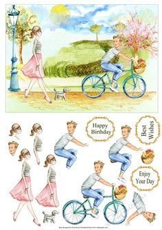 A bright fresh design of a female out for a walk in the park with a young man cycling by. Decoupage the figures