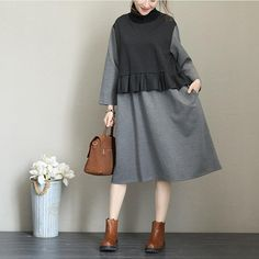 Fabric: Fabric has some stretchSeason: Fall,Spring,WinterType: Dress Sleeve Length: Long sleeveColor: GrayBlackDresses Length: Knee lengthStyle: CasualMaterial: Cotton and SpandexSilhouette: H shape Warm Dresses, Cotton Dresses, Warm Outfits, Midi Skirt, Denim, Chic, Blouse, Skirts, Sleeves