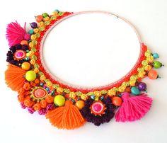 Orange ethnic necklace,big bold chunky necklace,boho tassel necklace,statement…