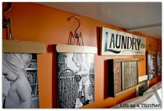 "Cute idea for laundry room- add pics of little one ""helping"" with laundry."