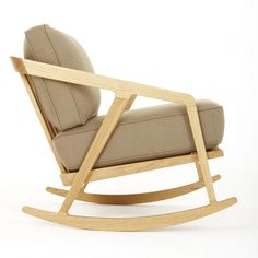 Katakana Rocking Chair Oak / Khaki herringbone Fabric
