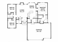 First Floor Plan of Traditional House Plan 62635, 1315 sq ft