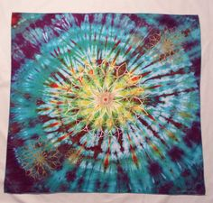 """HappierFacts Dye - Tapestry - 28""""x28""""  - 13-pt Galactic Star with 2 Medium &  2 Small Stars, Hand Painted"""