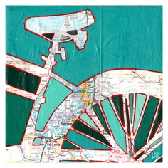 Bike Seattle -archival print of bicycle map painting with vintage map featuring Seattle Washington. $17.00, via Etsy.
