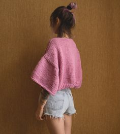 Cropped Sweater. Baby Pink Chunky Sweater. Hank knit Crop Top. Top with Flounce Sleeves. Sweater with Bell Sleeves. Boho Style Top by IrKOKO on Etsy