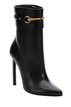 Gucci Black Leather 'Ursula' Horsebit Booties, $1195 $913.50, available at Bluefly.