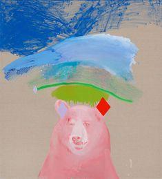 Miranda Skozcek -Magic Bear in Pink - 2012 - oil, acrylic and enamel on line