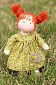 Купить Кукла Веснушка, по вальдорфским мотивам - вальдорфская кукла, вальдорфская игрушка, кукла для девочки, кукла