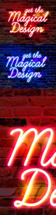 Wall Neon Glow Text Effect #PSD