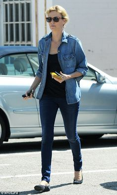Simple yet chic: Charlize Theron looked casual running errands in Beverly Hills