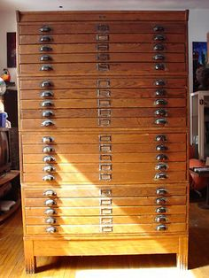 Vintage Industrial Antique Dietzgen 20 Drawer Wood Blueprint Flat File