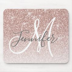 Girly Rose Gold Glitter Blush Monogram Name Mouse Pad - tap/click to get yours right now! #MousePad  #girly #chic #rosegoldglitter #monogram #modern #afflink Salon Business Cards, Glitter Slime, Glitter Eyeshadow, Monogram Design, Rose Gold Glitter, Monogram Wedding, Monogram Gifts, Hand Lettering, Just For You