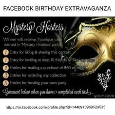 ***CONTEST***Join me for a LIVE Birthday Party on FACEBOOK!  https://m.facebook.com/profile.php?id=1440913969529535 WILL YOU WIN THE FREE YOUNIQUE CASH???  JOIN THE PARTY TO FIND OUT! #WINNING #PARTY #YOUNIQUE