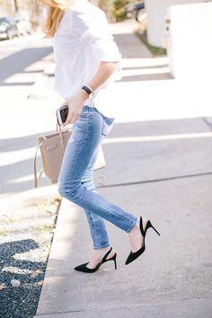 Light blue skinny jeans and slingback pumps.