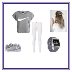 """Gray Nike"" by blondiedesigner on Polyvore, This was created by me, go follow me on polyvore @blondiedesigner if you have a polyvore account"