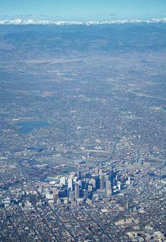 Aerial view of The Mile High City and the Rocky Mountains. #denver #colorado Visit Colorado, Living In Colorado, State Of Colorado, Colorado Homes, Colorado Mountains, Denver Colorado, Rocky Mountains, Denver Broncos, Colorado Springs