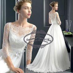 Elegante 3/4 Sleeve Lace andar de comprimento Vestido de casamento da Noiva vestidos 2016 New Arrival Vestido de Noiva