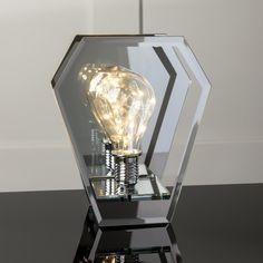 New Explorer Glass Lightbulb Table Lamp Battery Operated Bedroom Bedside  Lounge