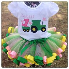 Personalized Girl's Tractor Pink and Green Tutu by InspiredFlair