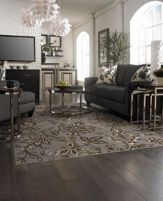 "Great inspiration room for your new living area.. Area rug in style ""Jillians Garden"" color Silver, in the Newport collection - by Shaw Floors"