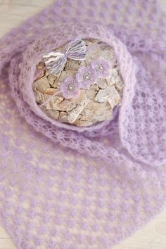 SET Knit Newborn Lavender Color Wrap & 2 by SoftButterflyKiss