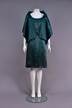 Spruce green silk having fitted sleeveless bodice with scoop neck and back, set-in waist, A-line skirt with self belt. on Apr 2017 Satin Cocktail Dress, Cocktail Dresses, 50s Vintage, Green Silk, Fabric Swatches, A Line Skirts, Christian Dior, Bodice, 1950s