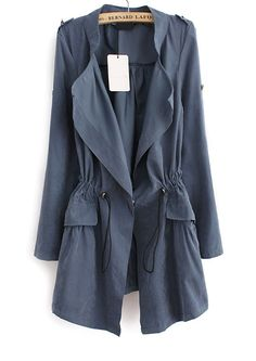 Blue Long Sleeve Epaulet Drawstring Trench Coat