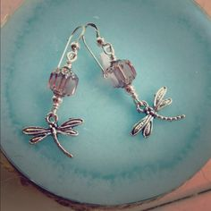 """Dragonfly Earrings Beautiful Faceted Antique Glass with Dragonfly Charms! Sterling Silver Ear Wires. 1 1/2"""" Jewelry Earrings"""