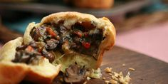 herbed mushrooms & asiago baked into brioche #saywhat