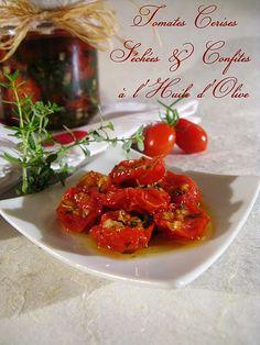 tomates cerises sechées et confites Sauce Tomate, Savoury Dishes, Favorite Recipes, Meat, Vegetables, Ethnic Recipes, Food, Conservation, Sauces