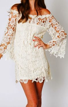 Ivory White Boho Lace Dress-- for whenever we get around to renewing our vows in Hawaii!