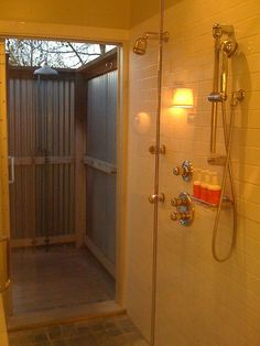 """Outdoor Shower by TradeWinds - """"Cascade"""" is an outdoor shower for terraces and gardens made out of hot galvanized steel."""
