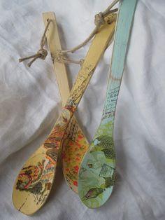 Cucharas de madera con decoupage