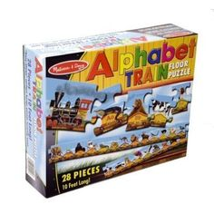 FLOOR PUZZLE ALPHABET TRAIN by MELISSA & DOUG. $11.99. AGE 3 YEARS +. From the Manufacturer All aboard the Alphabet Train! This large and colorful puzzle features 27 extra-thick pieces to make building it easy and fun. Easy-clean surface keeps puzzle looking new. 10 feet long! Product Description This Alphabet Train puzzle includes 28 extra thick pieces to keep your little one engaged and learning. The self-correcting pieces make learning the alphabet easy and fun. ...