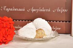amygdalota,  traditional sweets of Andros -   αμυγδαλωτά,παραδοσιακά γλυκά άνδρου, visit us at www.kallivroussis.gr, andros Menu, Vanilla Cake, Sweets, Desserts, Food, Menu Board Design, Tailgate Desserts, Deserts, Gummi Candy
