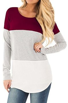 For G and PL Women's Long Sleeve Color Block Knits Tunics at Amazon Women's Clothing store: