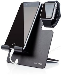 Apple Watch Stand With iPhone Dock - 2 in 1 Duo Charging Station For All iWatch and Phone Models, Best for Travel and Gifting: LXORY XStand (Black-Black)