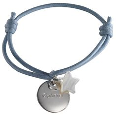 Bracelet enfant médaille argent à graver - breloque étoile en nacre - Petits Trésors - bijoux personnalisés