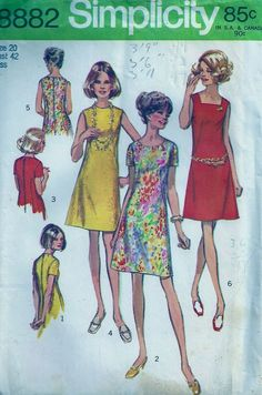 Vintage Sewing pattern Simplicity 8882 Misses A-Line Dress UC 12 34 Robes Vintage, Vintage Dresses, Vintage Outfits, Vintage Fashion, Vintage Dress Patterns, Clothing Patterns, 1970 Style, Patron Vintage, Moda Vintage