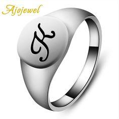 "[Visit to Buy] Ajojewel US Size 6.5-11.5 Classical Enamel Black ""K"" Jewelry Women Fashion Letter Ring For Men #Advertisement"