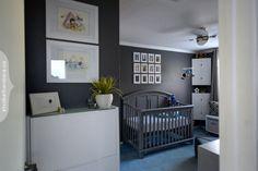 Modern Nerd Nursery - love the bold, dark gray walls!