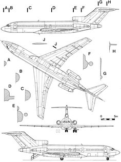 Free vehicle blueprints for cars, tanks, aircraft and trucks Boeing 727, Boeing Aircraft, Airbus A380, Paper Aircraft, Airplane Drawing, Civil Aviation, Aviation Art, Aircraft Painting, Aircraft Design