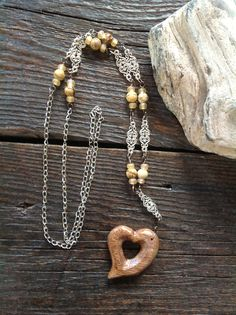 Chinese picture stone beads with hand carved wood heart $ 25.00