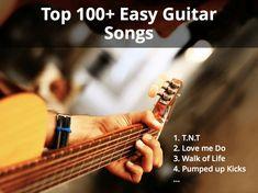 easy guitar songs Guitar Songs For Beginners, Guitar Chords Beginner, Easy Guitar Songs, Love Me Do, Pumped Up Kicks, Stevie Ray Vaughan, Beautiful Guitars, All Songs, Acoustic Guitars