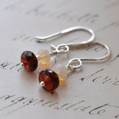 Garnet Opal Earrings  Ethiopian Opals  Sterling Silver  by MKaae