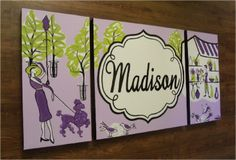 Paris Girls Room purple | ... initials- M2M decor- paris theme purple green. $225.00, via Etsy