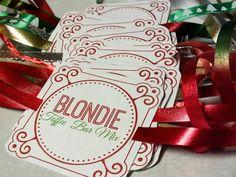 Toffee Blondie Bars in a jar with free printable labels