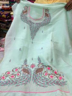 Embroidery Suits Punjabi, Hand Embroidery Dress, Embroidery Suits Design, Embroidery Fashion, Embroidery Designs, Designer Punjabi Suits, Indian Designer Wear, Dress Neck Designs, Blouse Designs