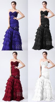 Romantic Trumpet-Mermaid Sweetheart Floor Length Chiffon Evening Dress with Appliques and Ruffles COST1400B #motherdresses #cocomelody