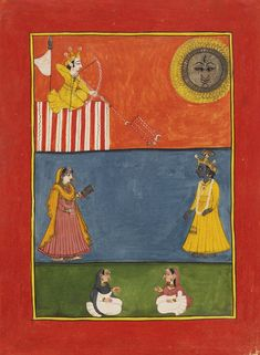 Under a fiery sun, Lord Kama aims 5 arrows of desire at Lord Krsna who faces Radha. The Rasikapriya of Keshav Das. Mandi, India ca. 1790-1800.